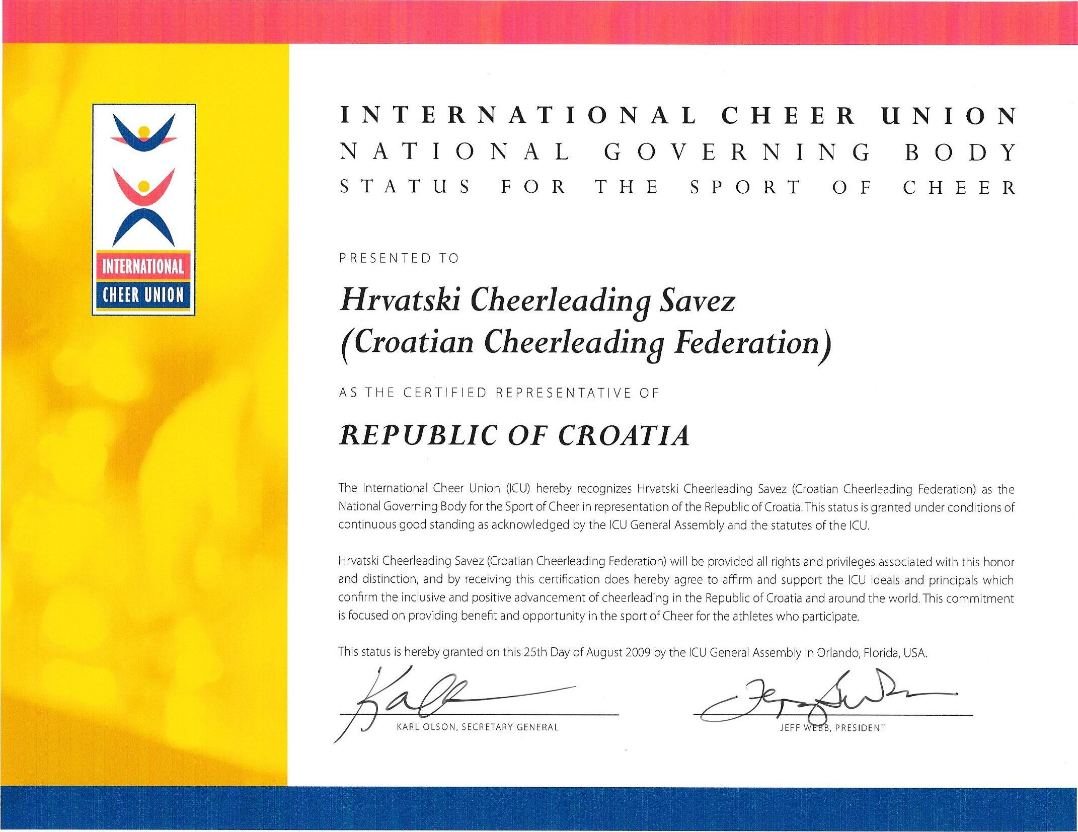The recognized world governing body of cheerleading europe e mail officecheerleading icu recognition letter altavistaventures Gallery