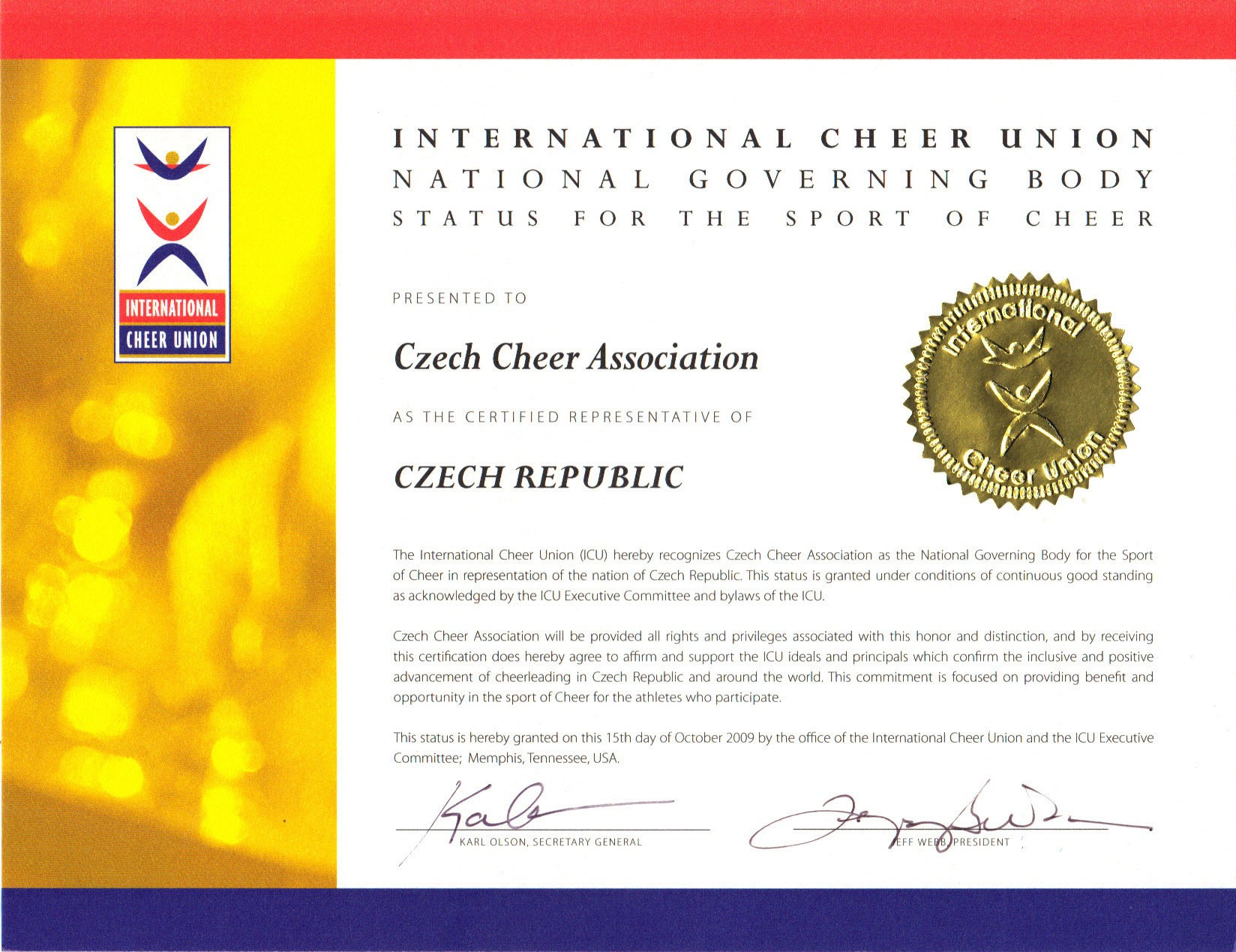 The recognized world governing body of cheerleading europe icu tafisa membership letter altavistaventures Gallery